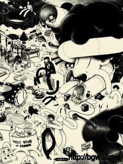 black-and-white-cartoon-art-wallpaper
