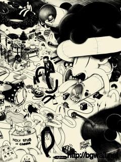 black-and-white-cartoon-art-wallpaper