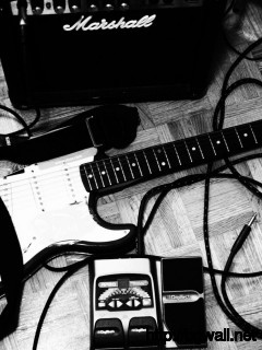 black-and-white-guitar-music-wallpaper