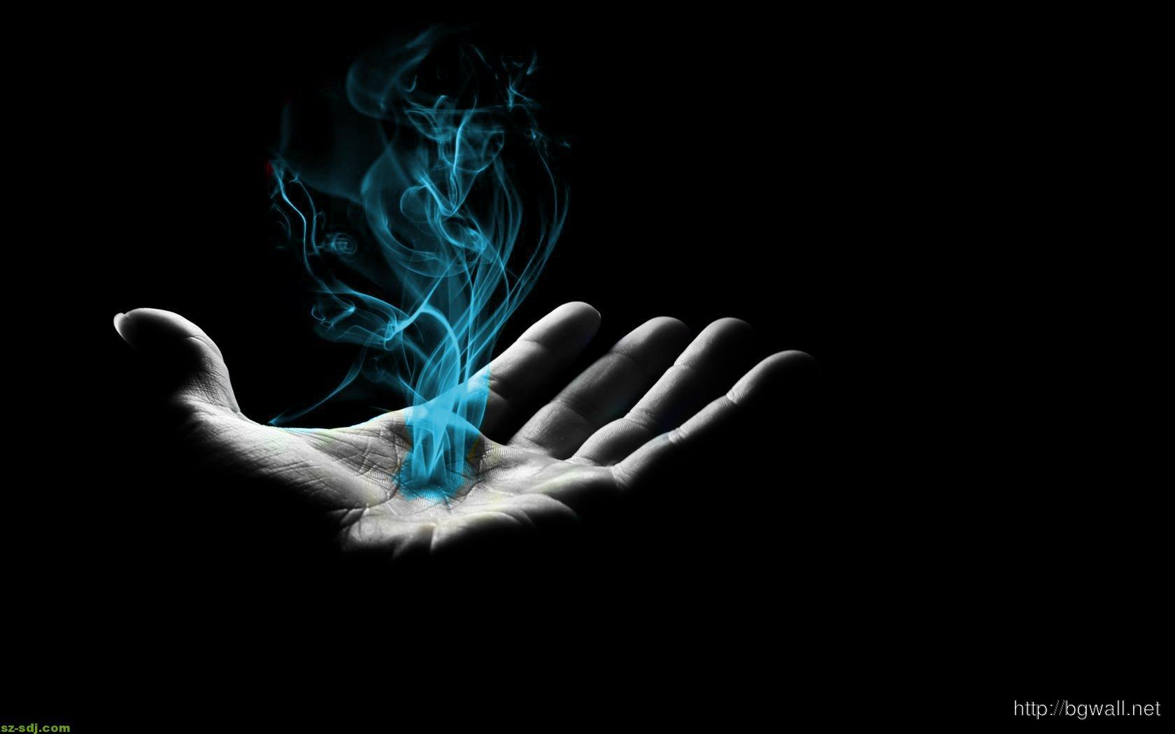 blue-smoke-on-hand-wallpaper-abstact