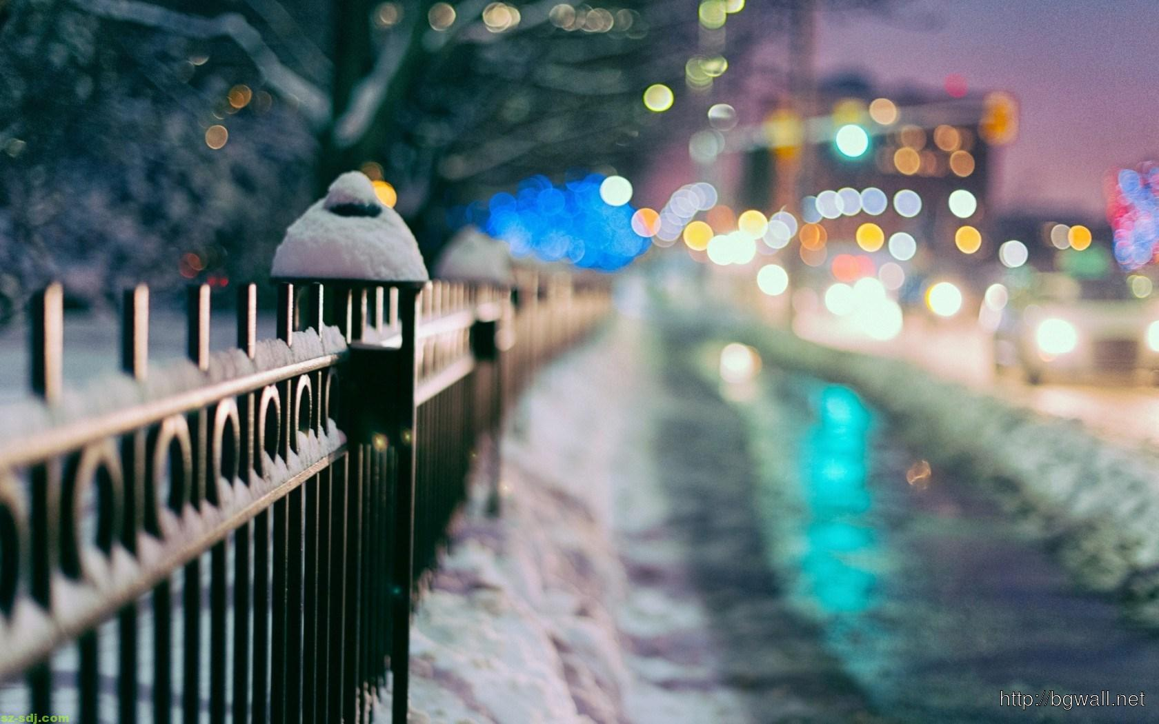 City Fence Winter Wallpaper High Resolution