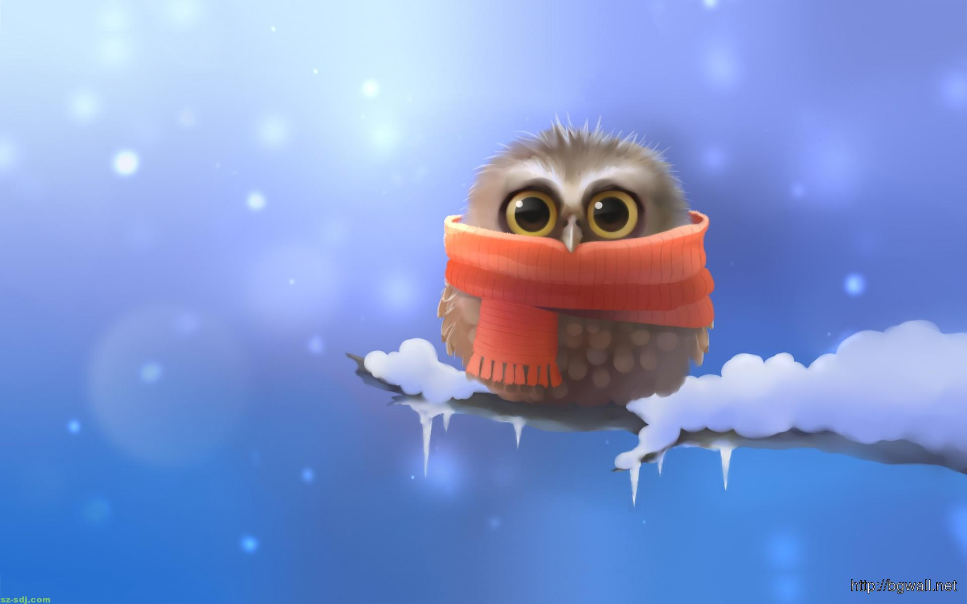 Cold Baby Owl Cartoon Wallpaper