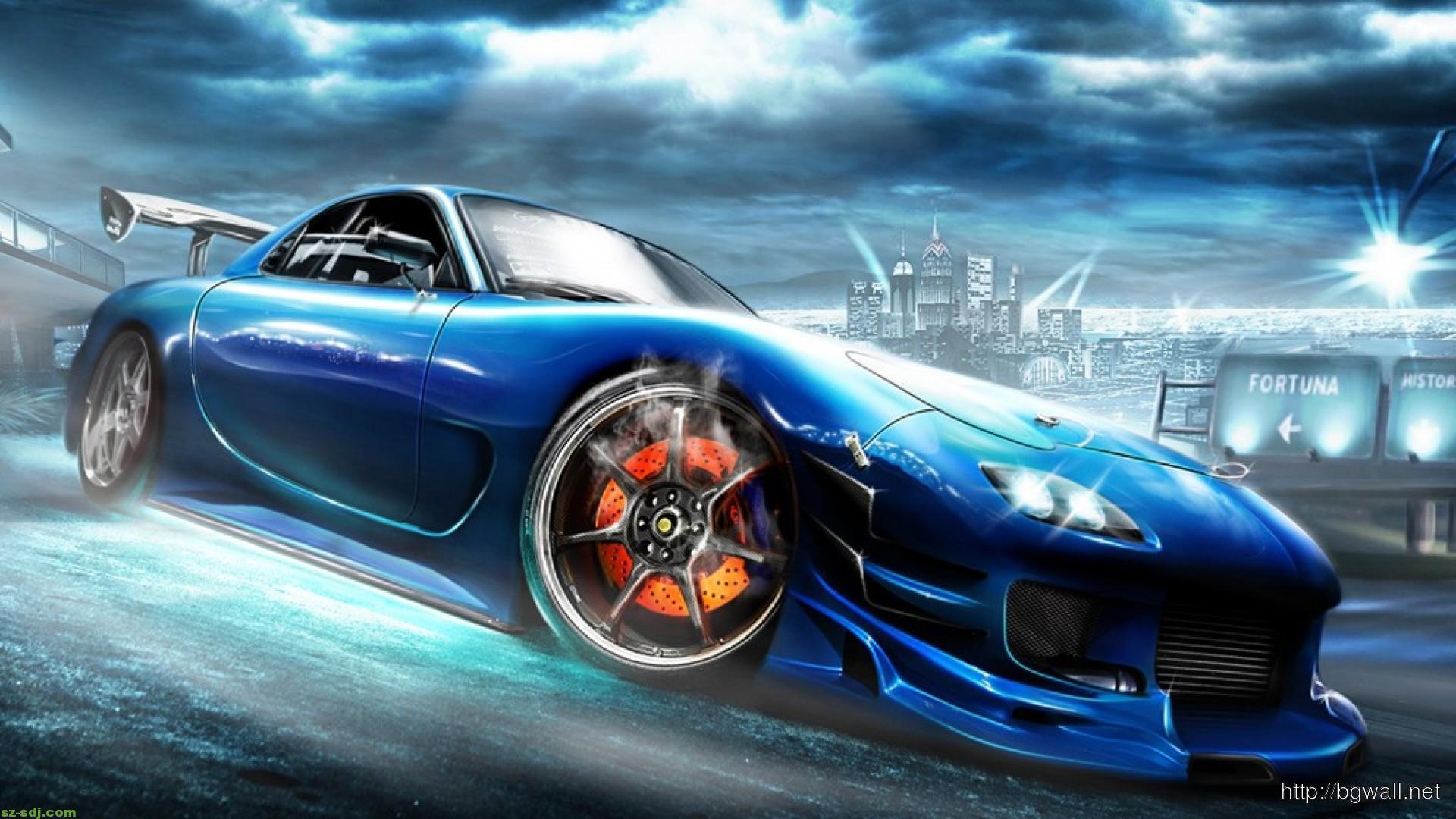 Cool Blue Mazda Rx 7 Wallpaper Desktop Background
