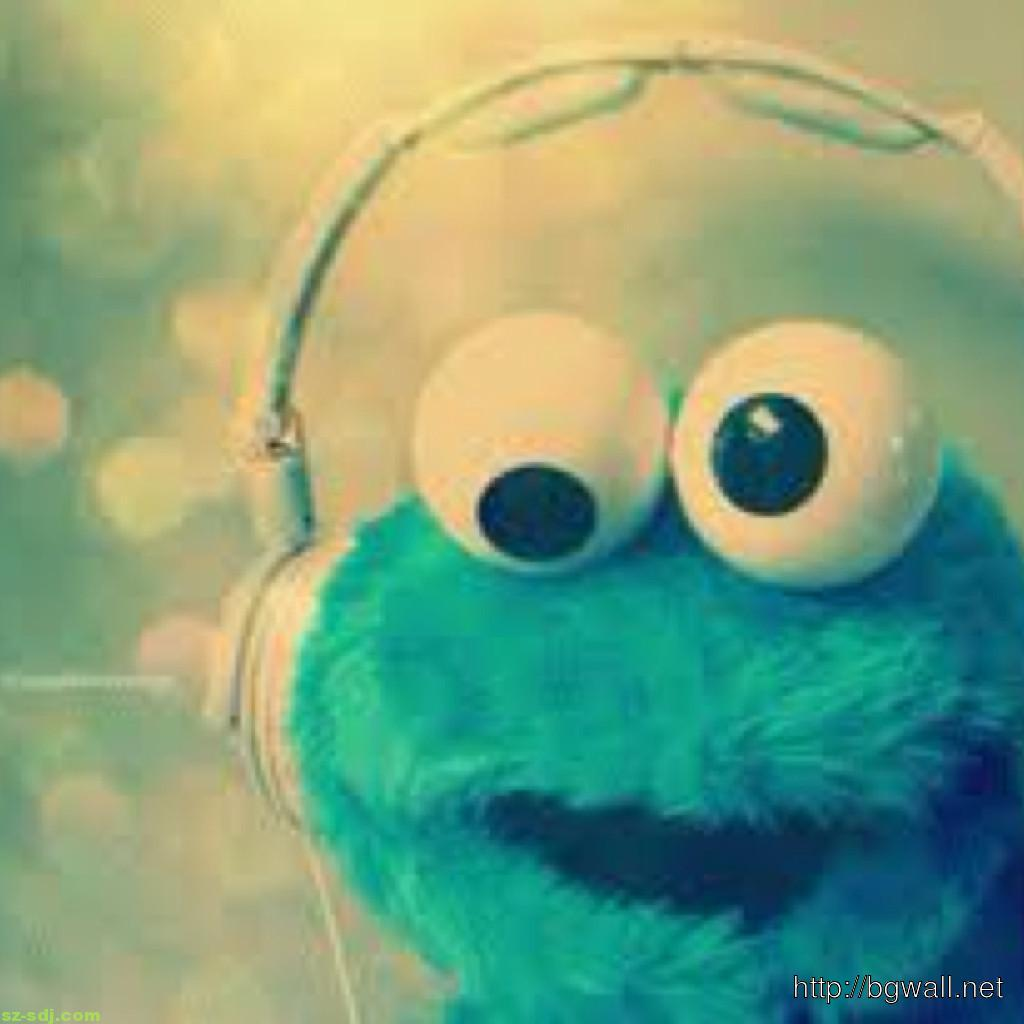 Cute Blue Elmo Wearing Headphone Wallpaper Computer Background