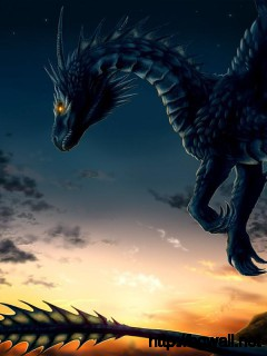 dragon-on-sunset-sky-wallpaper-computer