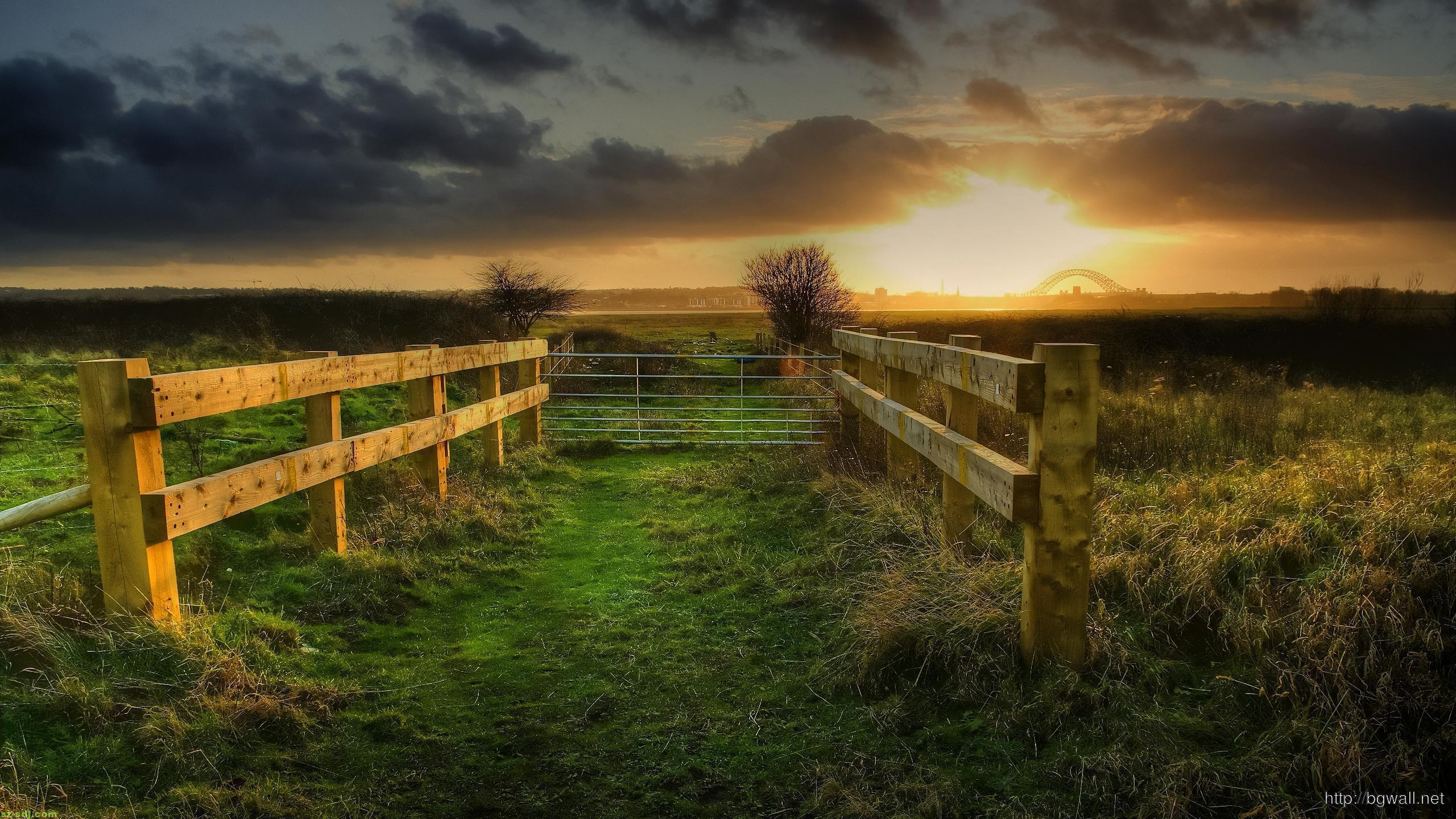 fencing-sunset-nature-wallpaper-widescreen