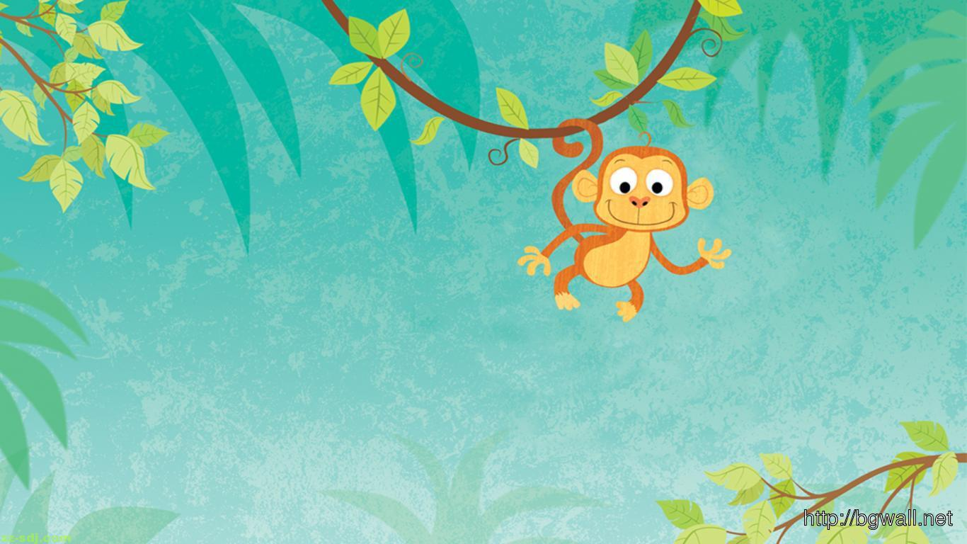 Funny Cartoon Monkey Hanging On The Tree Wallpaper Hd
