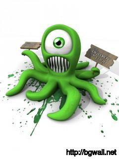 funny-green-octopus-wallpaper