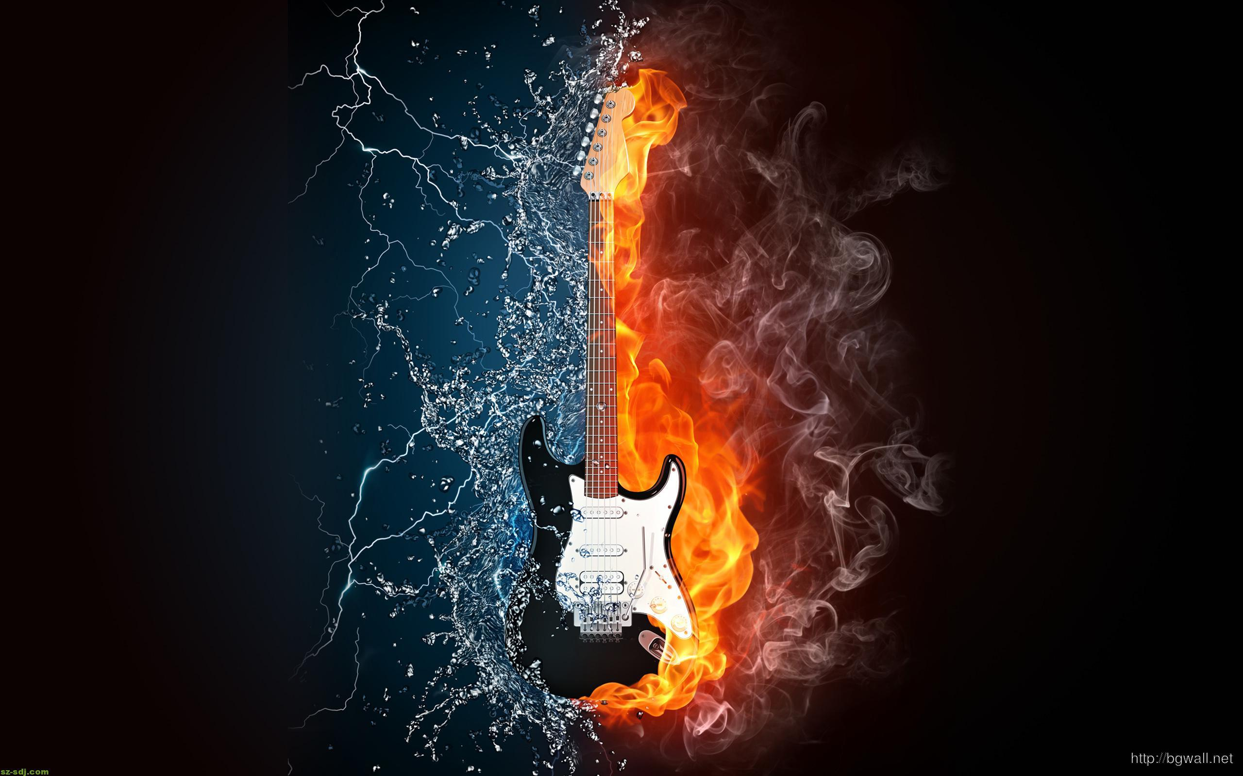 Guitar Ice And Fire Desktop Wallpaper Background Wallpaper Hd