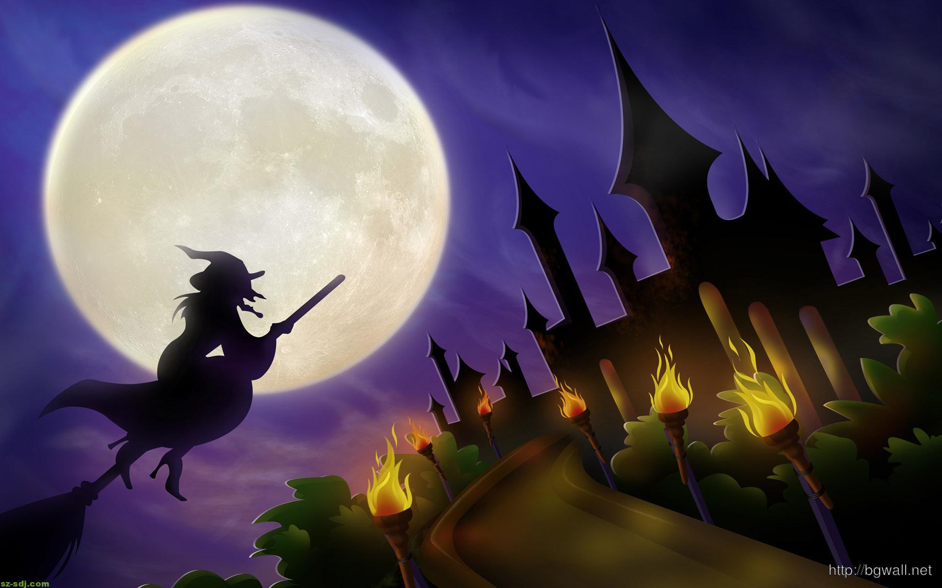 Halloween Witch Castle Wallpaper Wide